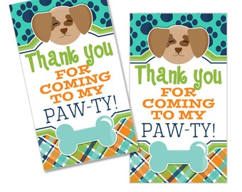 Pampered Pooch Digital Boys Birthday Party Printable Puppy Dog Pawprint Thank You Favor Tags INSTANT DOWNLOAD