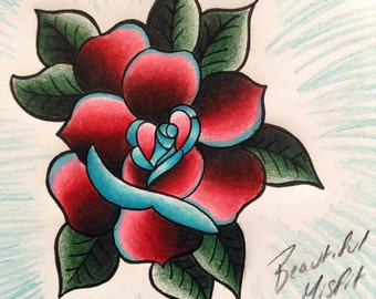 Traditional Tattoo Flash, Rose