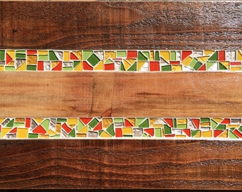 Custom wood and mosaic serving tray - Citrus