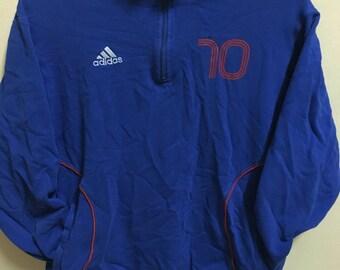 Vintage 90's Adidas 10 France Blue Classic Design Skate Sweat Shirt Sweater Varsity Jacket Size M #A99