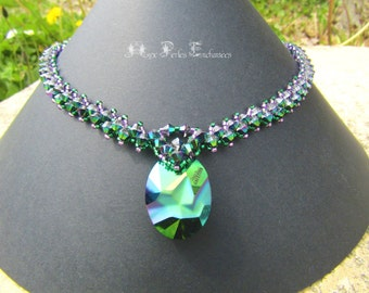 Jean Paul Gaultier Kaputt pendant green Scarabaeus Swarovski Crystal Necklace