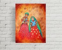 indian painting, puppet painting, rajasthan art, indian art, colorful art, small acrylic art, original art, wall art, home decor, gift ideas