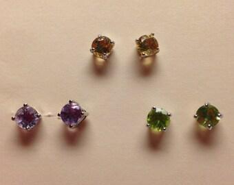 Gemstone Stud Earrings Set of 3 Multi Color 5 mm