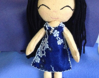 Little oriental girl (gingermelon style) felt doll