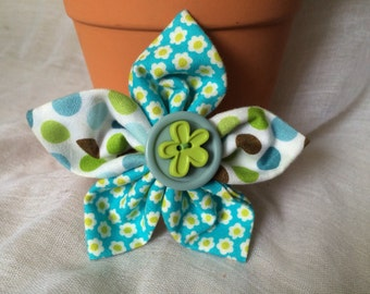 Handmade Cotton and Button Fabric Flower Brooch, Blue & Green with Brown, Ideal Gift, Can Be Personalised For Weddings Birthdays etc