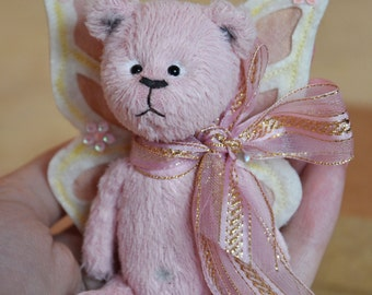 A little pink teddy bear Fly OOAK