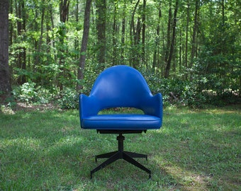 Blue Vinyl Atomic Chair