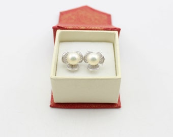 Rare 8.6mm Cultured Freshwater Pearl Earrings with Solid Sterling silver and CZ Gemstone 211342