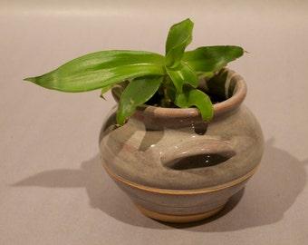 Grey Flower Pot w/ handles