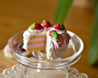 Strawberry Cake Dessert Miniature, Dollhouse Miniature Food polymer clay