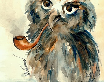 Cute owl watercolour by Marianna Fedorova