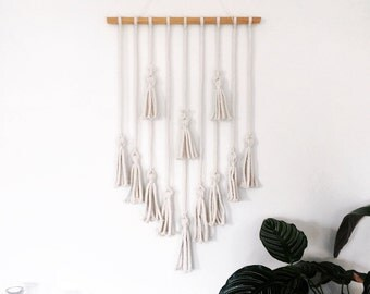 Tassel Wall Hanging in chunky cotton rope
