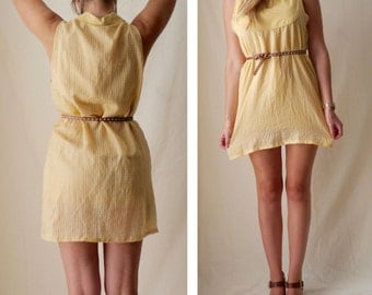 Yellow summer dress / Yellow vichy dress with collar / Refashioned Vintage / Size Small to Medium / US 4 6 8 / UK 8 10 12 / EU 36 38 40