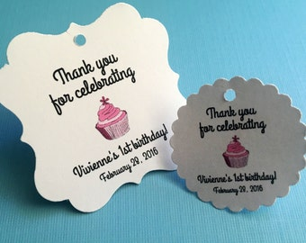 Cupcake party favor tags, birthday party