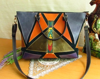 Women leather tote, Shoulder bag, Colorful purse, women tote, free shipping, women large bag, large tote, colorful tote, oversize tote