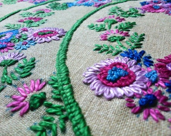 Vintage Hand Embroidered Linen Table Mats x 3
