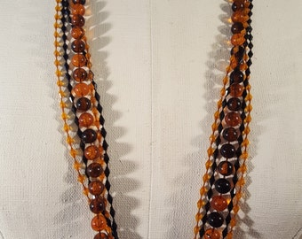 """Vintage Plastic Black and Amber Multi-strand Necklace, 51"""" Long"""