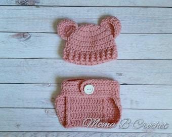 Crochet Teddy Bear Baby Girl Set, Teddy Bear Photo Prop, Babyshower Gift, Teddy Bear Hat, Crochet Photo Prop Set, Teddy Bear Costume