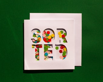 Sorted/ Thank you - Moving Confetti Shaker Card