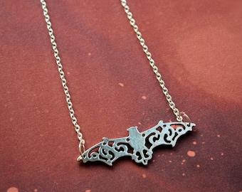 Bat necklace, goth necklace bat jewelry silver bat necklace, vampire necklace vampire jewellery pop culture gothic necklace lolita