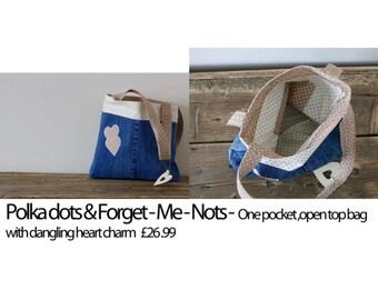 Polka dots and forget-me-nots bag