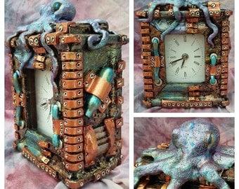 10 x 4 steampunk octopus clock