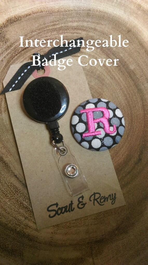 Monogram Badge Reel  Cover - Interchangeable Gray Black White Modern Dots