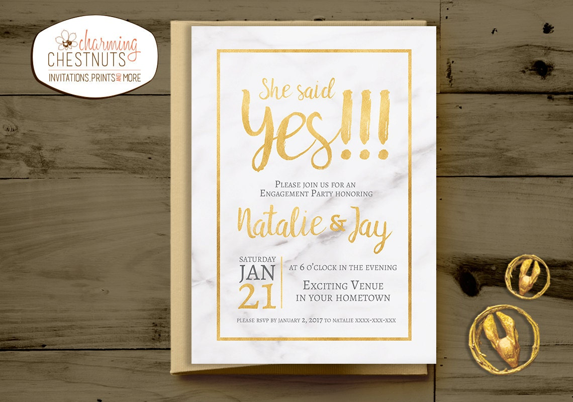 Marble and gold Engagement Party Invitation, She said yes ...