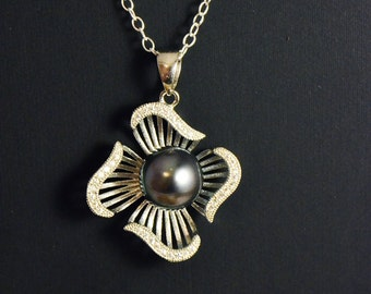 Tahitian Pearl, Cibuc zirconium and sterling silver pendant
