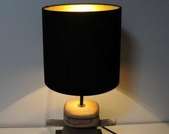 "Driftwood - table lamp ""Gold-Black"" (drift wood)"