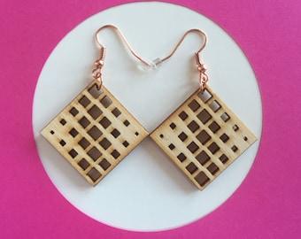 Wood Square Grid Pattern Earrings