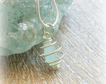 Sea Foam Sea Glass Silver Plated Spiral Cage Necklace