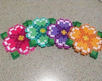 Perler Bead Flower Coaster Set