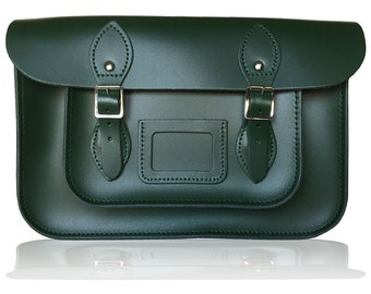"""12.5"""" Classic British Leather Satchel 100% Real Leather - British Racing Green"""