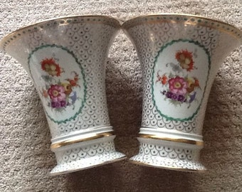 """Pair of Two Erphila 7"""" Vases - Germany - Floral Design Gold Trim"""