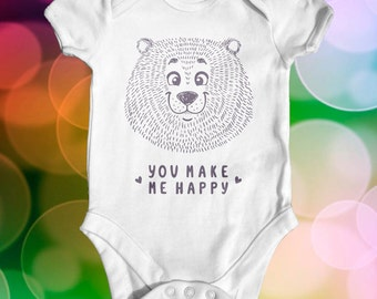 You Make Me Smile Baby Bodysuit | Cute Baby Clothes | Baby Shower Gift | Boho Baby Clothes | Baby Bear Bodysuit | Funny Baby Bodysuit