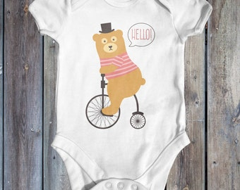 Hello! Bear Riding A Penny Farthing baby bodysuit | baby shower gift | cute baby clothes | funny baby bodysuit | newborn baby clothes