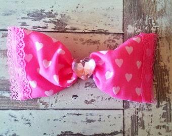 Valentina Pink & White Heart Bow