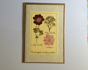 Handmade Pressed Flower Card 'The English Country Garden' Design