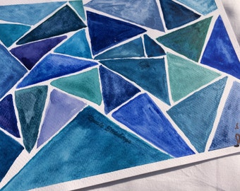 Original, Watercolor painting, Niances of blue, Blue Triangles, 18x24 cm, 7x9 in