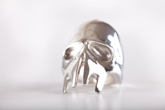 Liquefied Skull Ring - (made in ITALY, Sterling Silver 925)