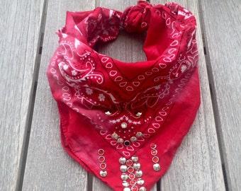 Vintage red bandana scarf