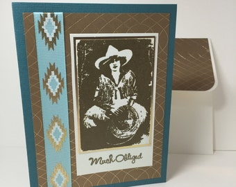 Cowgirl Thank You Note - Rodeo - Western - Much Obliged - Handmade