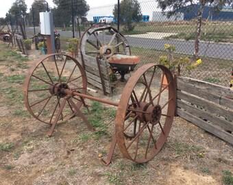Vintage farm wheels and axle