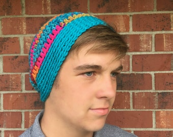 Colorful Striped Slouchy Beanie with Turquoise Brim/Turquoise Striped Slouchy Beanie/Multi-color Slouchy Beanie/Bright and Striped Slouchy