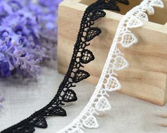 "20 yard 1.3cm 0.51"" wide black/ivory embroidery lace trim trims ribbon L22K186 free ship"