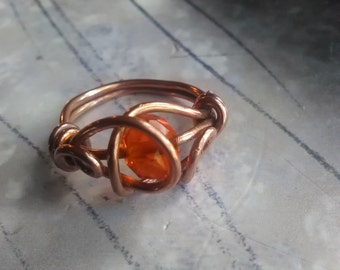 solid copper wire wrapped ring size 6