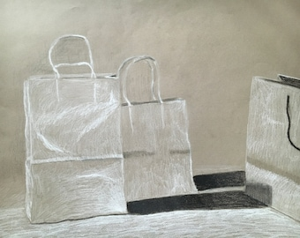 Shopping Bags Charcoal Still Life