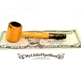 Small wooden tobacco smoking pipe Irish blackthorn wood