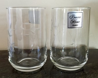 Princess House Heritage Juice Glasses/Tall Votive Holders, set of 2